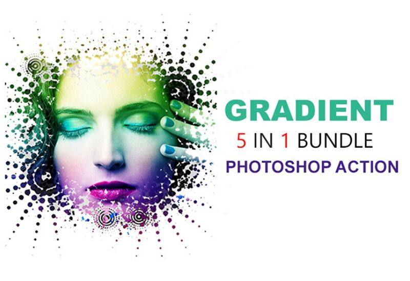 5 In 1 Gradient Photoshop Actions Bundle-Add-Ons-Artixty