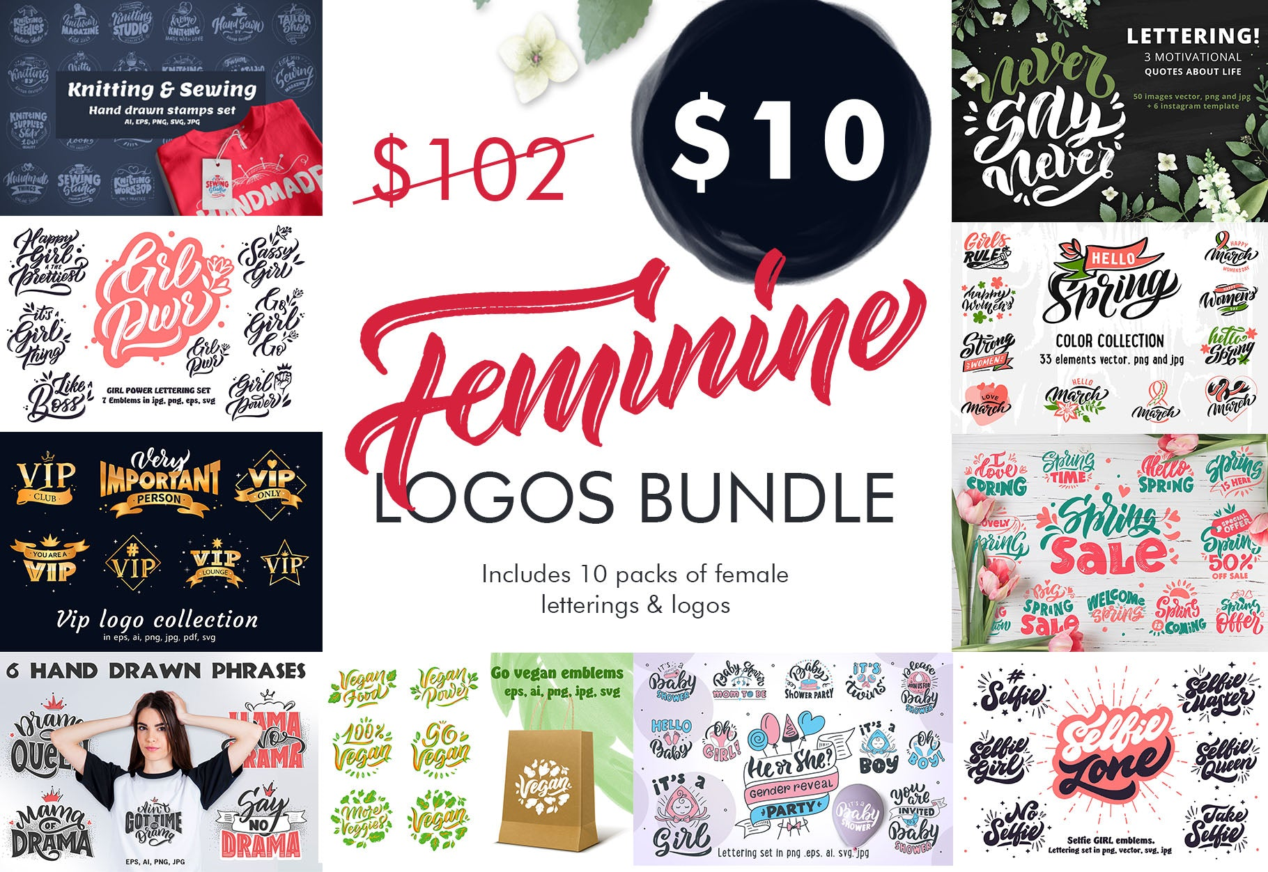 The Stylish Feminine Lettering Logos Collection-Graphics-Artixty