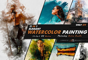 11-In-1 Elegant Watercolor Photoshop Actions Bundle-Add-Ons-Artixty