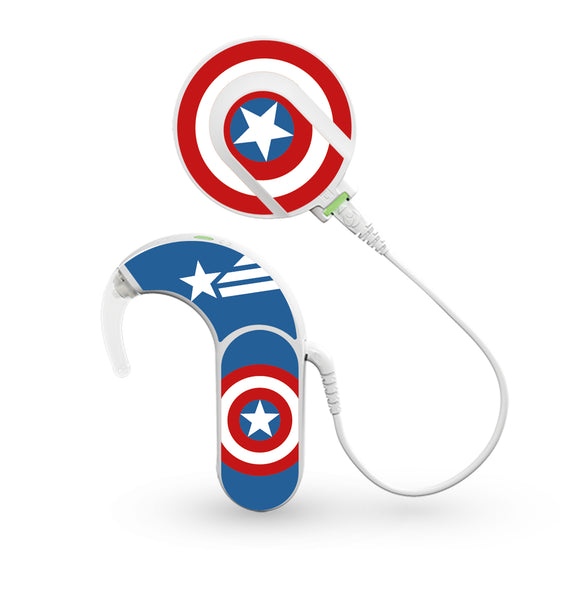 America Superhero skin for Med-El Sonnet and Sonnet 2 Cochlear Implants