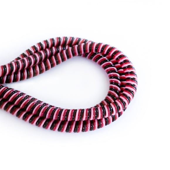 black, red and white cable twist for cochlear implants and hearing aids