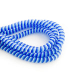 blue, light blue and white cable twist for cochlear implants and hearing aids