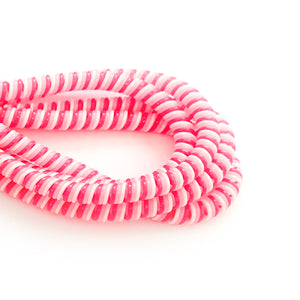hot pink, pink and white cable twist for cochlear implants and hearing aids