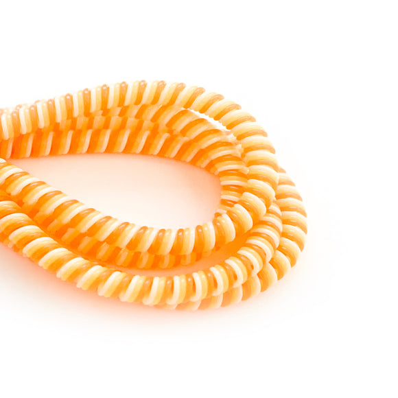 orange, yellow and white cable twist for cochlear implants and hearing aids