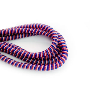 red, blue and white cable twist for cochlear implants and hearing aids