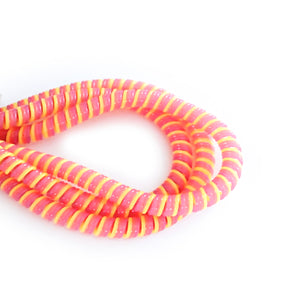 yellow, pink and purple cable twist for cochlear implants and hearing aids