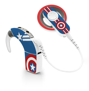 America Superhero skin for Cochlear Implant, Advanced Bionics