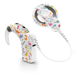 Colourful Dinosaurs skin for Cochlear Implant, Advanced Bionics