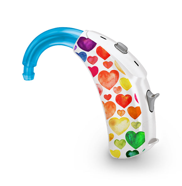 Rainbow Hearts skin for Hearing Aid
