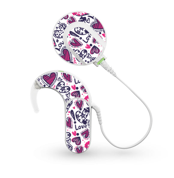 Love Hearts skin for Med-El Sonnet and Sonnet 2 Cochlear Implants