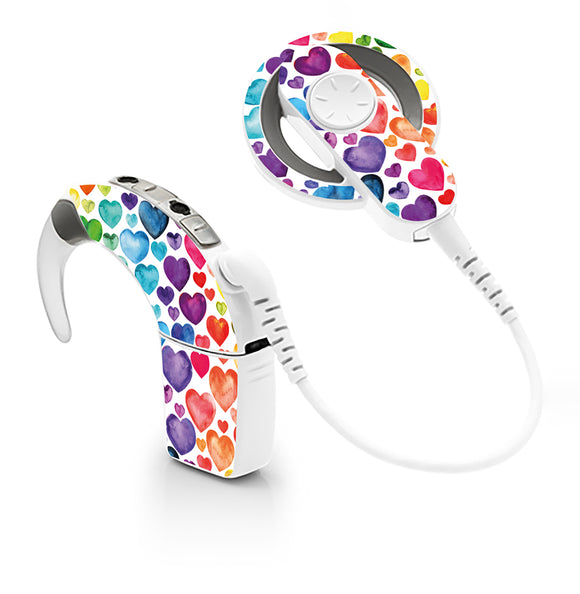 Rainbow Hearts skin for Cochlear Implant, Advanced Bionics