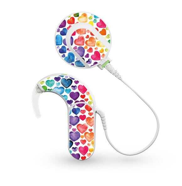 Rainbow Hearts skin for Med-El Sonnet and Sonnet 2 Cochlear Implants