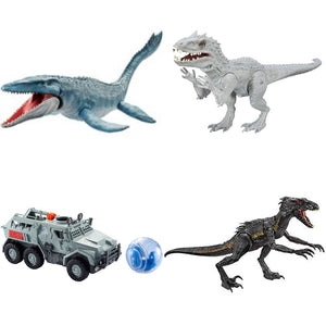 "24"" Inch Long HUGE 4-Pack Indominus Rex (LIGHT UP) LED Indo Raptor / Mosasaurus / Gryosphere Figures Figure Mattel & Hasbro"
