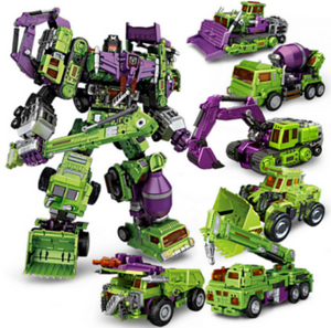"17"" Inch Deformation Devastator (GREEN) Combiner 6-Pack ""Construction Vehicles"" Oversized NBK G1 Figure NBK"