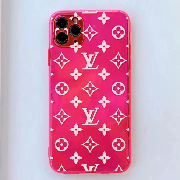 Transparent Neon Pink LV Tpu case