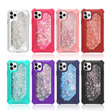Shockproof 3 In 1 Defender Glitter Liquid Silicone Case