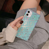 Fendi Teal logo square TPU case