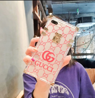 Transparent Pink Gucci logo case