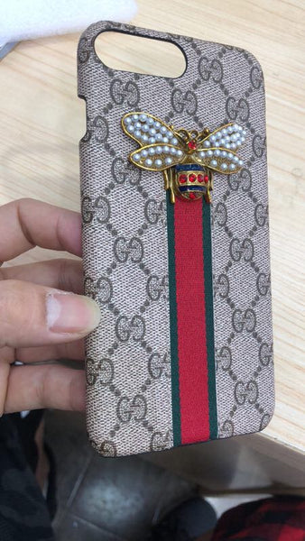 Gucci Leather Bee crystal Stripe  case