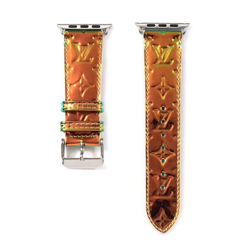 Orange hologram LV Apple Watch band