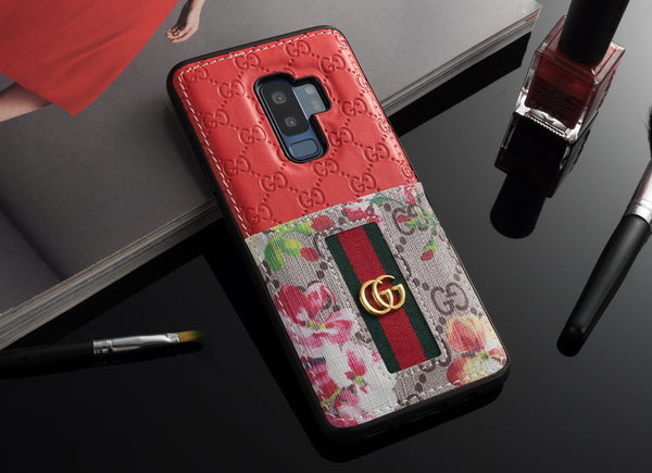 Red wallet gucci leather galaxy case
