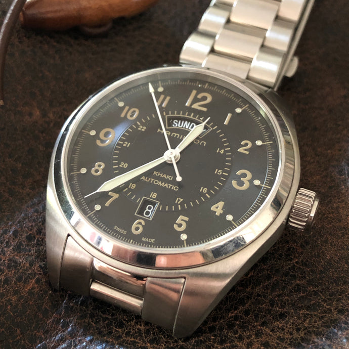 Hamilton H705050 Khaki Field Day Date Auto w/ box and papers
