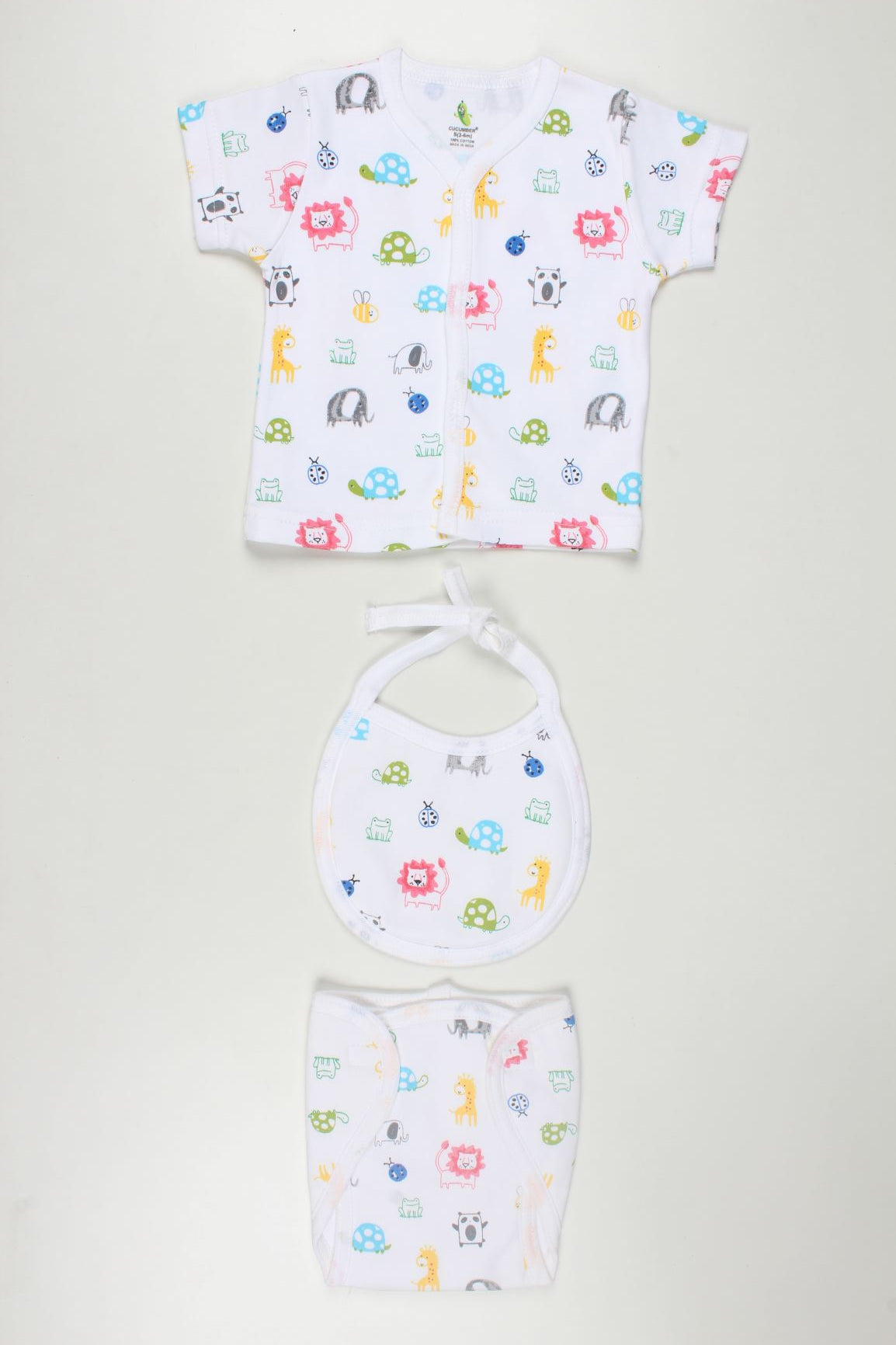 Animal Print Half Seelves Tshirt with Bib and Nappy Wear