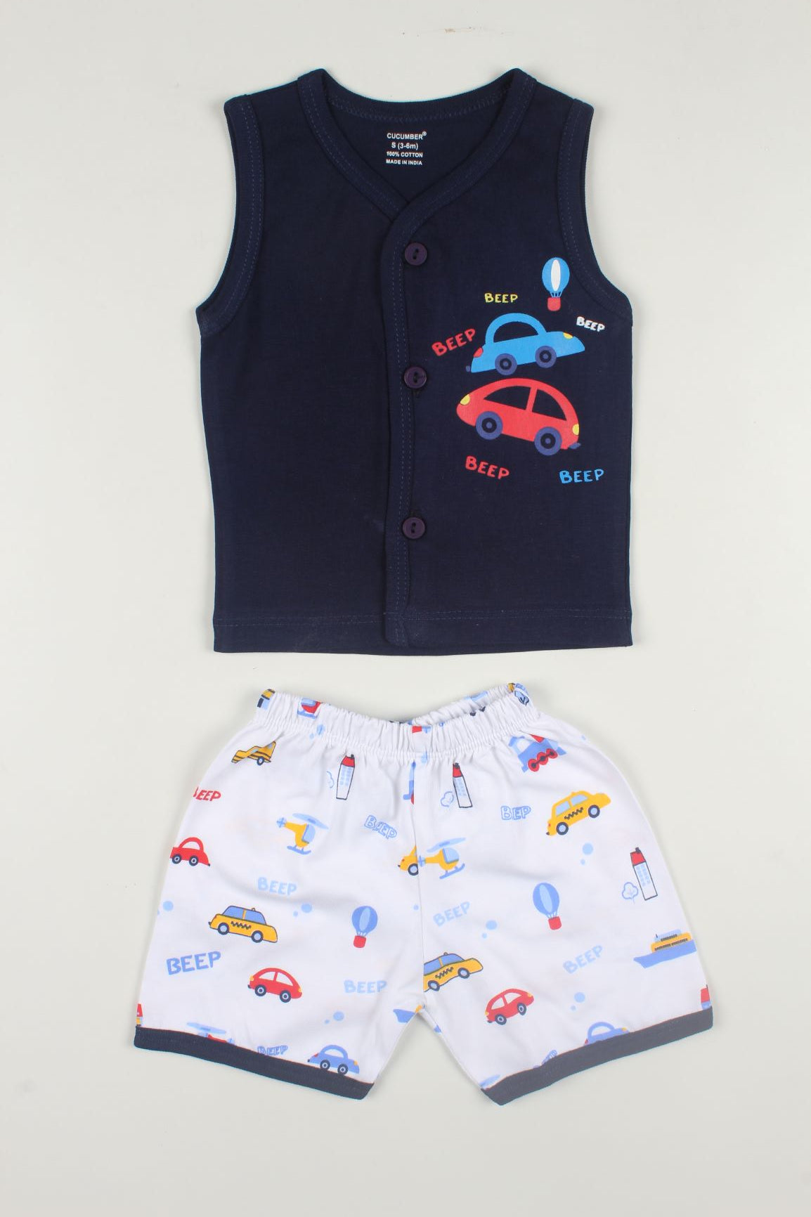 Car Print Sleeveless Tshirt & Shorts