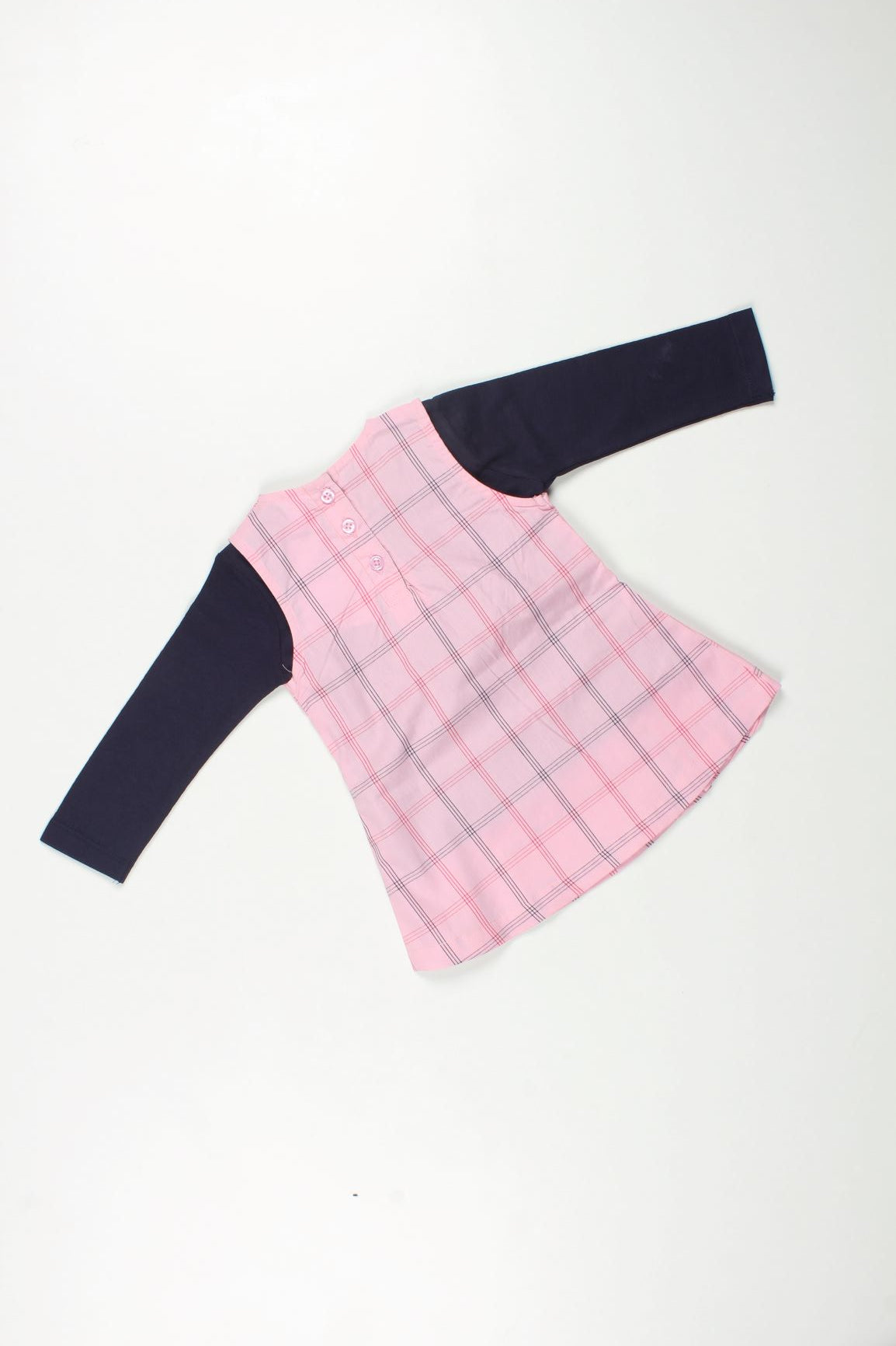 Checkered Frock with Fullsleeves Tshirt