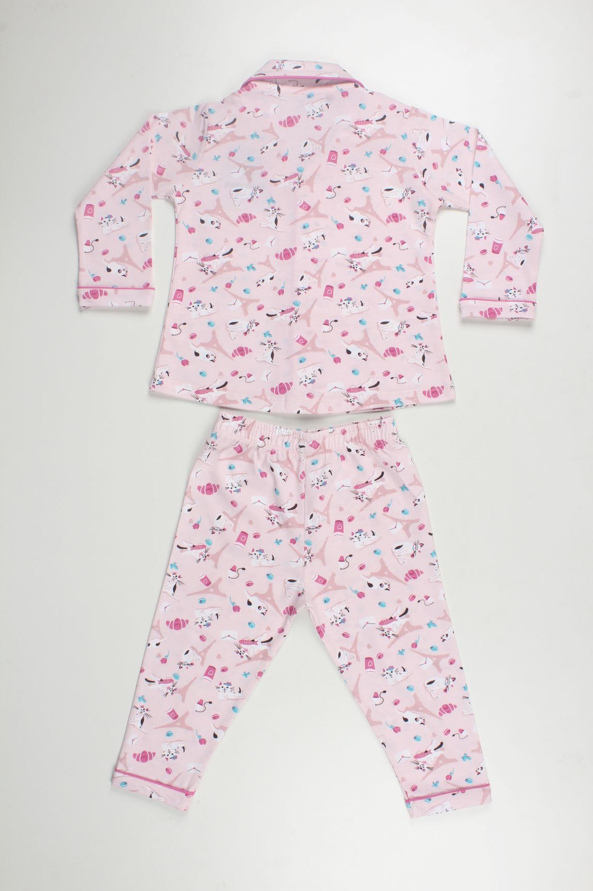 Cat Print Night Pyjama Set