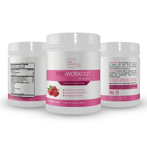 Natural PreWorkout - No Artificial Flavors, Colors or Sweeteners - Raspberry Flavor