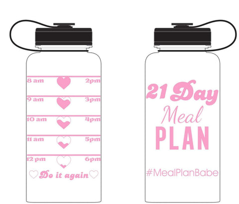 Pink Metallic Water Bottle 21 Day Meal Plan