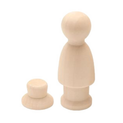 Peg Doll - 6.2cm Man with Removable Hat