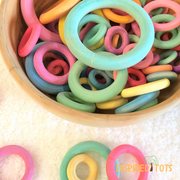 Wooden Rainbow Rings  - 60 Pieces