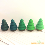 Shades of Green Wooden Trees - 5 Pieces