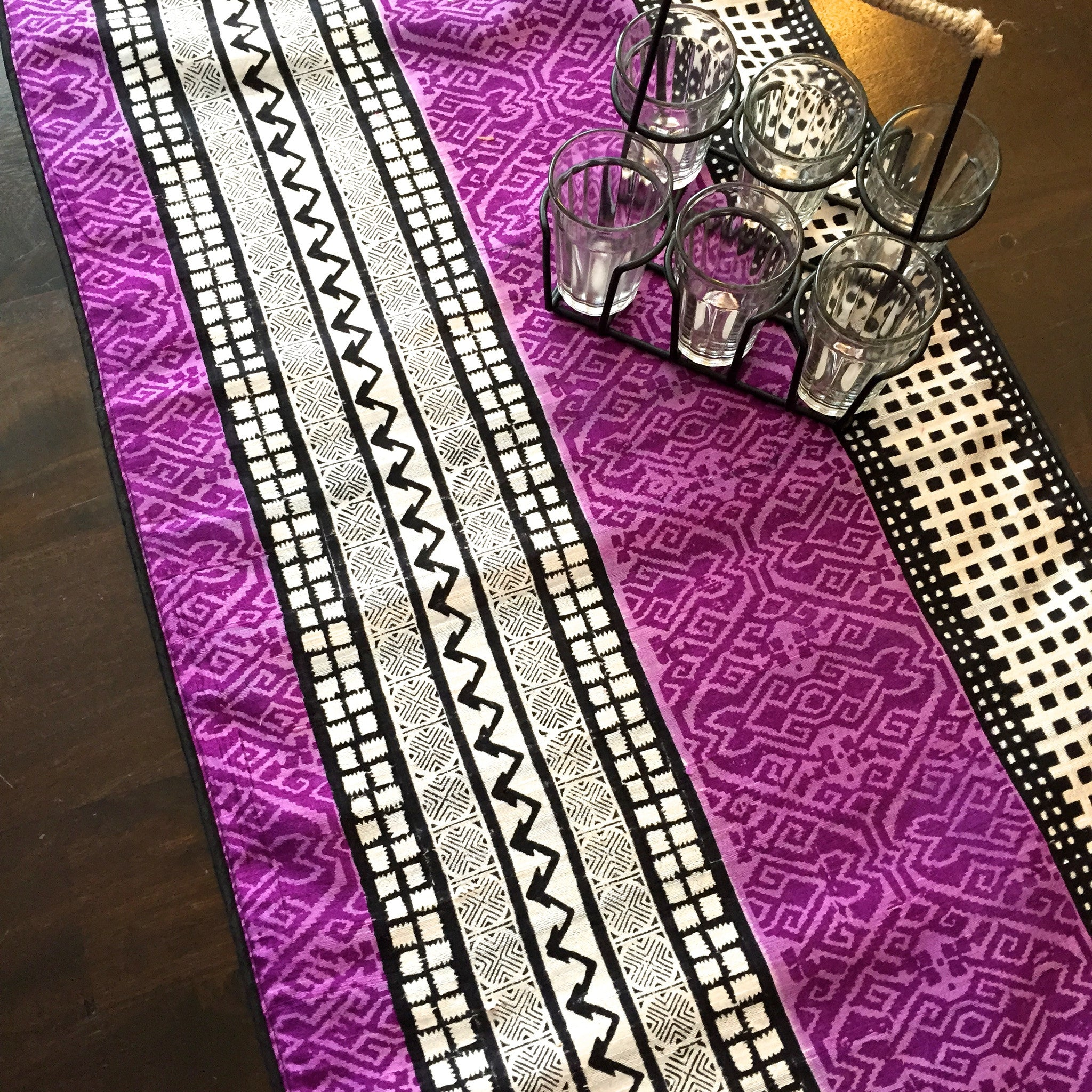 Raw Silk Table Runner With Geometric Design  Purple
