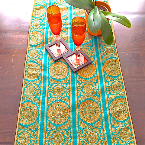 Beautiful Green Table Runner With Subtle Work In Woven Zari