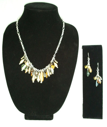 Glass Beaded Chain Necklace Set