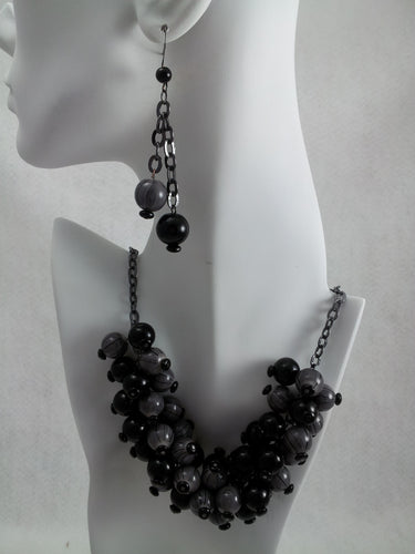 Chunky Black and Grey Beaded Necklace and Matching Dangle Earings