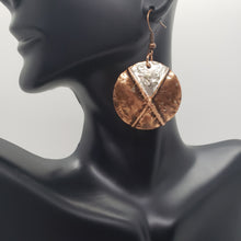 Load image into Gallery viewer, Copper and Silver Dusted Disc Earrings