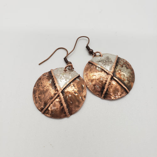Copper and Silver Dusted Disc Earrings