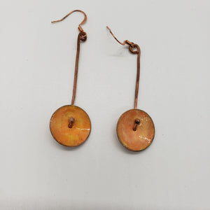 Copper Hanging Disc Enameled Earrings