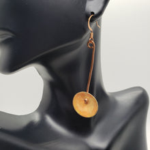 Load image into Gallery viewer, Copper Hanging Disc Enameled Earrings