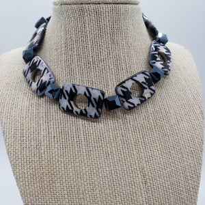 Houndstooth Beaded Choker Necklace