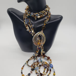 Multi-Color Glass Beaded Lariat