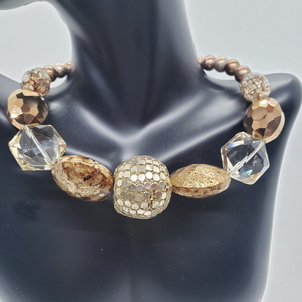 Bronze and Crystal Beaded Necklace