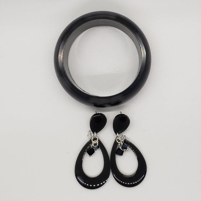 Black Acrylic Bracelet and Earring Set