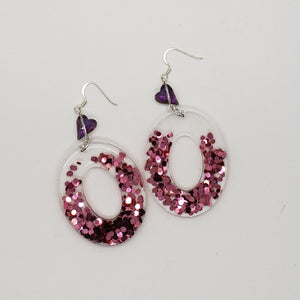 Acrylic Glitter Oval Earrings