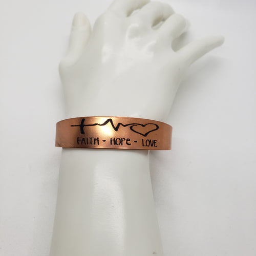 Copper Etched Faith, Hope, Love Pulse Line Bracelet