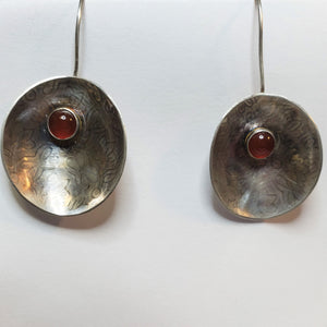 Sterling Silver with Agate Gemstone Disc Earring